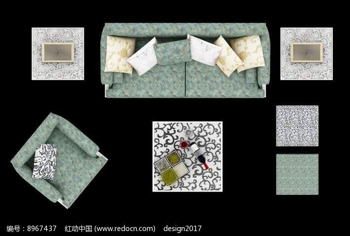 印花沙发摆放效果图PSD图片