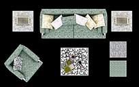 印花沙发摆放效果图PSD