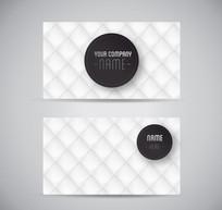 白色菱形格名片设计