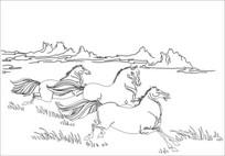 奔马雕刻图案