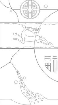 飞鹿雕刻图案