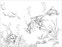 海底世界雕刻图案