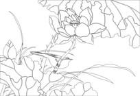 荷花鸟雕刻图案