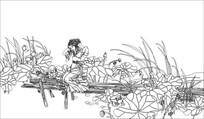 荷花仙子雕刻图案