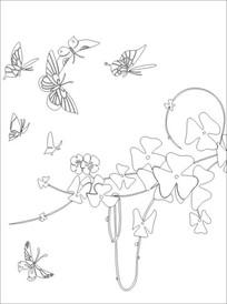 蝴蝶飞飞雕刻图案