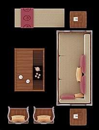 简约风格客厅俯视图