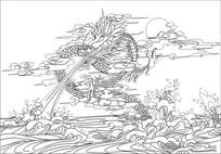 龙戏水雕刻图案