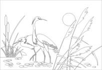 芦苇鹤雕刻图案