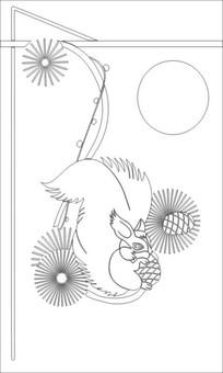 松鼠雕刻图案