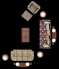 碎花风格客厅俯视效果图
