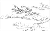 仙鹤雕刻图案
