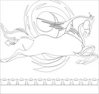 雄马雕刻图案