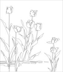 郁金花香雕刻图案