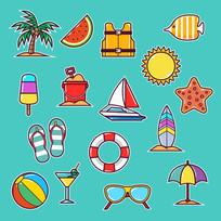16款彩色夏季沙滩度假元素