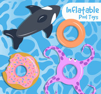 4款彩色浮在水面的充气玩具