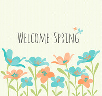 彩色欢迎春天的花丛