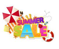 彩色夏季促销海报和元素