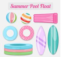 彩色夏季游泳圈和泳池充气玩具