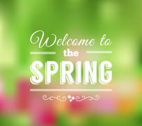 欢迎来到春天艺术字海报