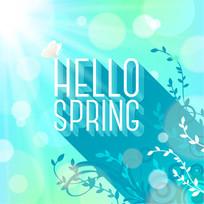蓝色你好春天背景
