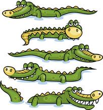 卡通鳄鱼矢量素材