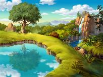 卡通山林背景素材