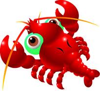 红色卡通龙虾