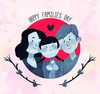 彩绘国际家庭日素材