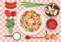 矢量鲜虾食物