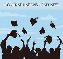 毕业欢呼人群剪影图片