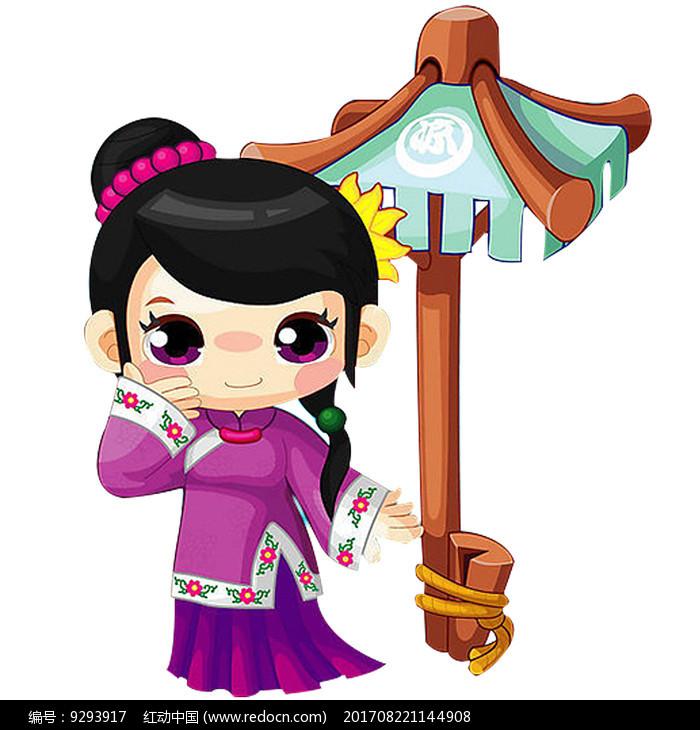 古代小女孩卡通人物