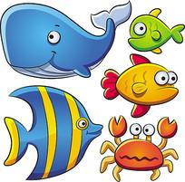 卡通海底鱼类