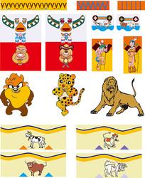 卡通印第安文化素材