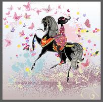 骑马的女孩装饰画