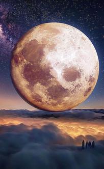 绚烂高清月亮分层图