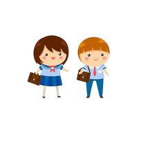 穿蓝色校服的两个小学生