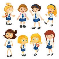 穿着校服的小学生