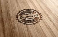 复古木质雕刻logo样机