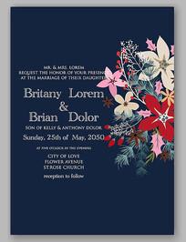 简洁花朵婚礼请柬设计