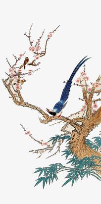 鸟在枝头中国画背景