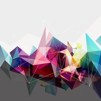 矢量彩色三角形背景素材