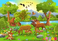 卡通森林动物素材