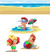 卡通沙滩人物