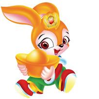 抱着金元宝的兔子