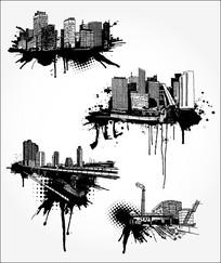 黑白城市剪影素材