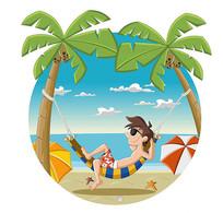 卡通海洋沙滩人物素材