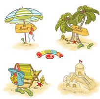 夏日沙滩物品素材