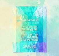 水彩绘夏季沙滩派对宣传单ai