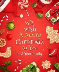 红色圣诞节快乐海报