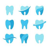 蓝色矢量牙齿